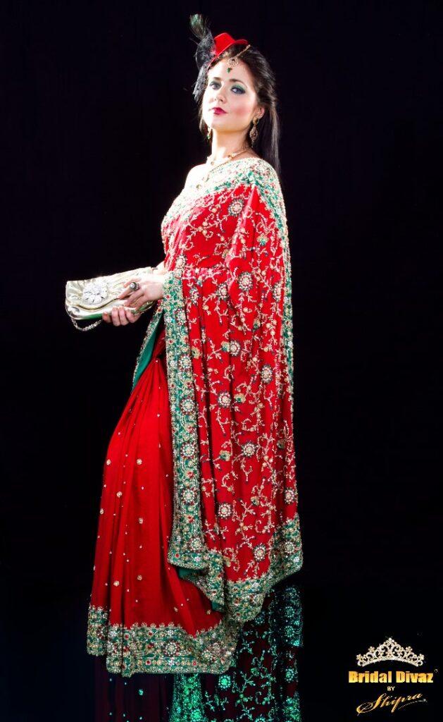 Designer Bridal Sari - Custom Made by Fashion Designer Shipra - BRIDAL DIVAZ ® by SHIPRA