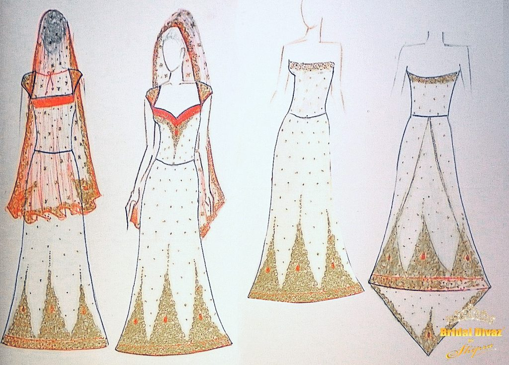 Haute Couture fashion sketches by BRIDAL DIVAZ ® by SHIPRA